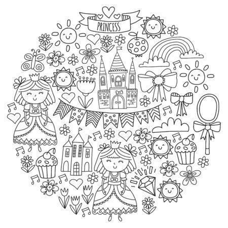 Vector pattern for little girls. Princess illustration for happy birthday party Standard-Bild - 124969575