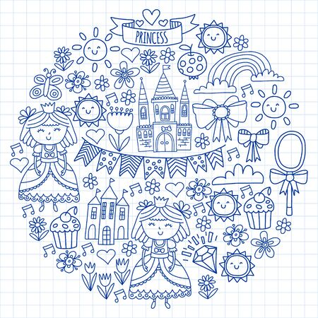 Vector pattern for little girls. Princess illustration for happy birthday party Standard-Bild - 124969728