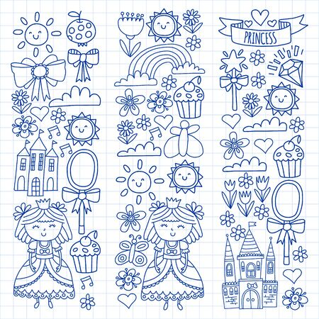 Vector pattern for little girls. Princess illustration for happy birthday party Standard-Bild - 124969730