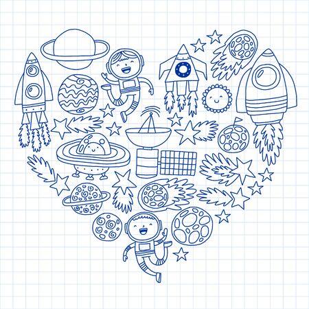 Patrón de vector con iconos espaciales, planetas, naves espaciales, estrellas, cometas, cohetes, platillos voladores del transbordador espacial Ilustración de vector
