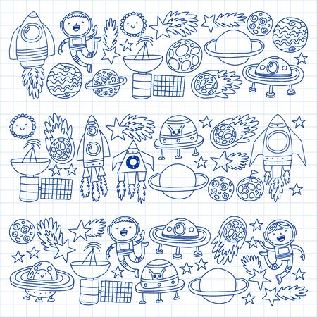 Vector pattern with space icons, planets, spaceships, stars, comets, rockets space shuttle flying saucers