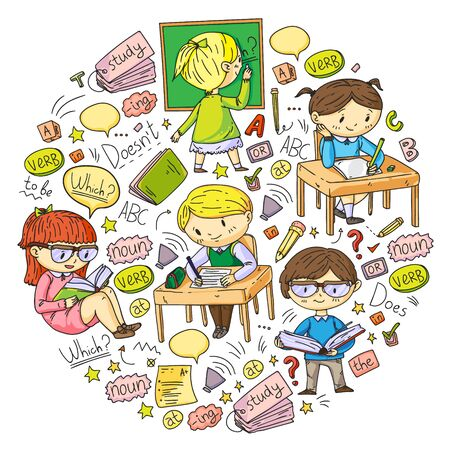English school for children. Learn language. Education vector illustration. Kids drawing doodle style image Stock Illustratie