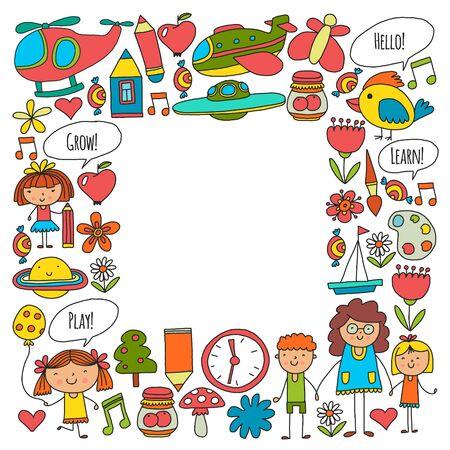 Kindergarten, toys. Little children play learn grow together Ilustração