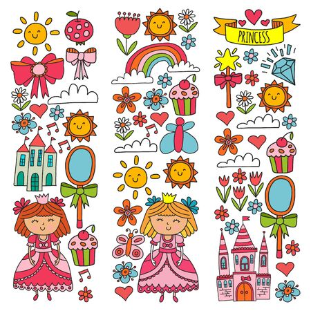 Vector pattern for little girls. Princess illustration for happy birthday party Standard-Bild - 124969809