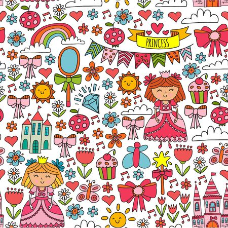 Vector pattern for little girls. Princess illustration for happy birthday party Standard-Bild - 124969814