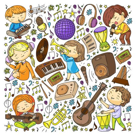 Children play music. Musical education, theatre school