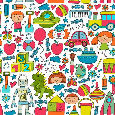 Kindergarten, preschool, school children. Kids drawing style vector pattern. Play grow learn together.