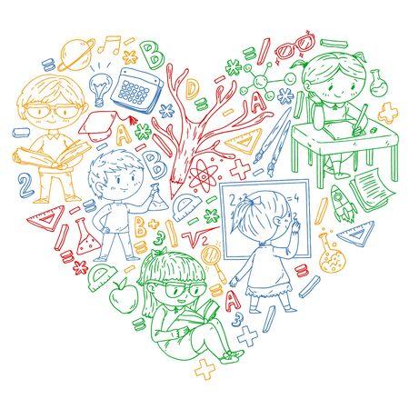 Zurück zur Schule. Vektorsymbole und Elemente für kleine Kinder, College. Doodle-Stil, Kinderzeichnung.