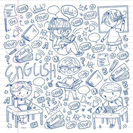 English school for children. Learn language. Education vector illustration. Kids drawing doodle style image  イラスト・ベクター素材
