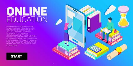 Isometric vector banner. Online education, learning, distant courses. School college unversity