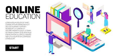 Bannière de vecteur isométrique. Éducation en ligne, apprentissage, cours à distance. École Collège université