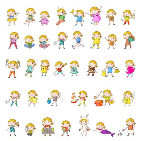 Collection of vector school and kindergarten girls. Princess, pirate, pet shop, fashion, clothes, gardening cooking