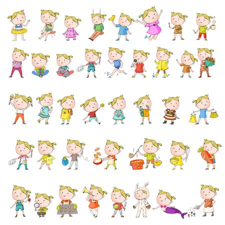Collection of vector school and kindergarten girls. Princess, pirate, pet shop, fashion, clothes, gardening cooking Illustration