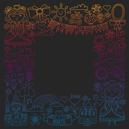Vector pattern for little girls. Princess illustration for happy birthday party Standard-Bild - 126881958