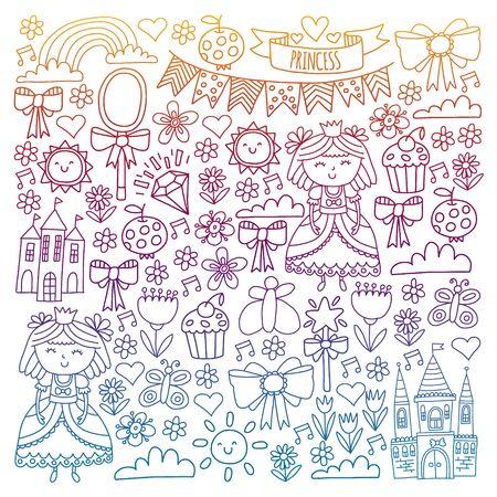 Vector pattern for little girls. Princess illustration for happy birthday party Standard-Bild - 126881752
