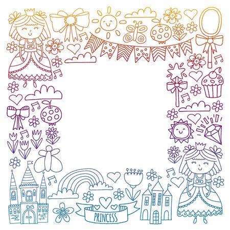 Vector pattern for little girls. Princess illustration for happy birthday party Standard-Bild - 126881755