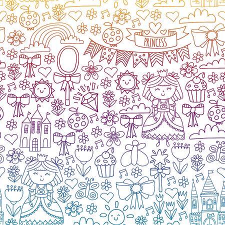 Vector pattern for little girls. Princess illustration for happy birthday party Standard-Bild - 126881757