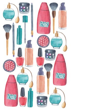 Cosmetic products with ingredient plants in illustration for posters, patterns, backgrounds.
