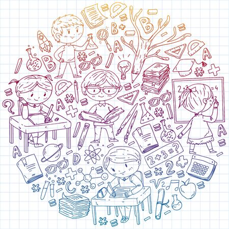 Back to school. Vector icons and elements for little children, college. Doodle style, kids drawing.