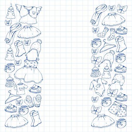 Children clothes. Background for babies, kids patterns Stok Fotoğraf