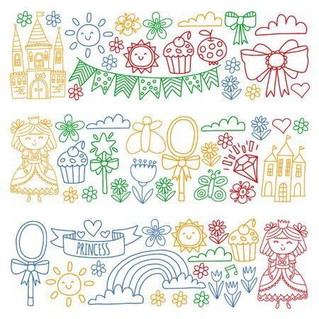 Vector pattern for little girls. Princess illustration for happy birthday party Standard-Bild - 127578234