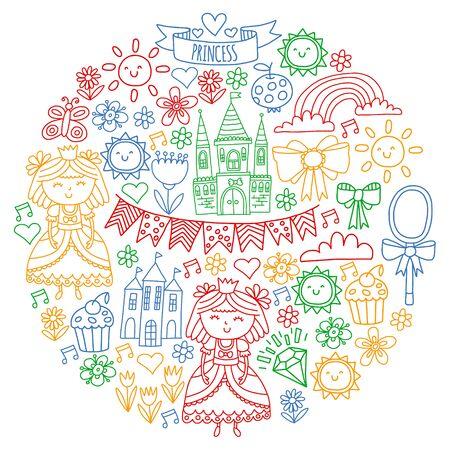 Vector pattern for little girls. Princess illustration for happy birthday party Standard-Bild - 127578513