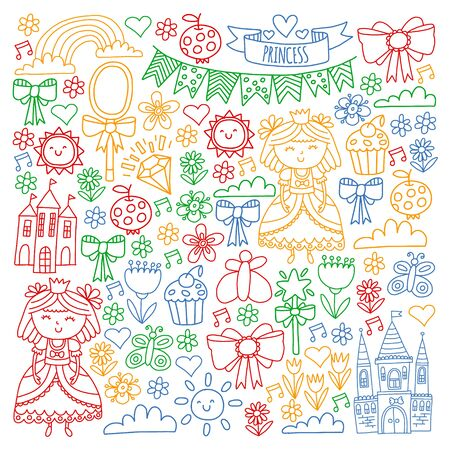 Vector pattern for little girls. Princess illustration for happy birthday party Standard-Bild - 127578514