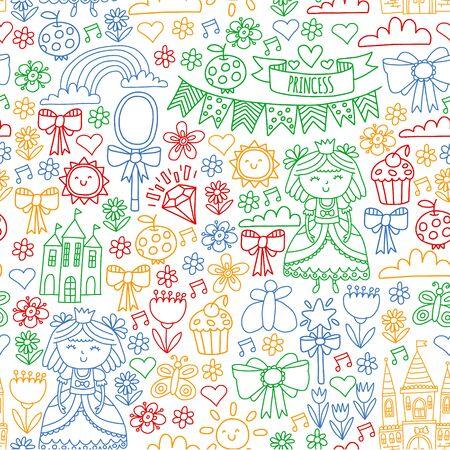 Vector pattern for little girls. Princess illustration for happy birthday party Standard-Bild - 127578512