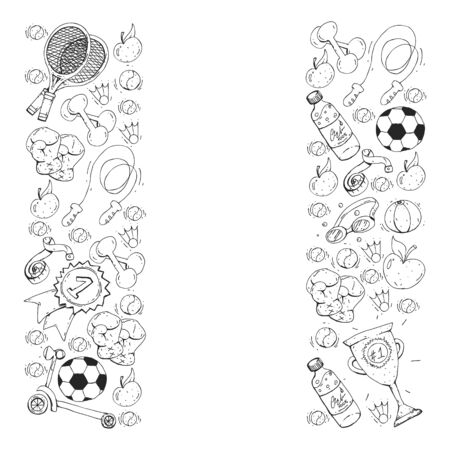 Vector pattern with sport elements. Fitness, games exercises