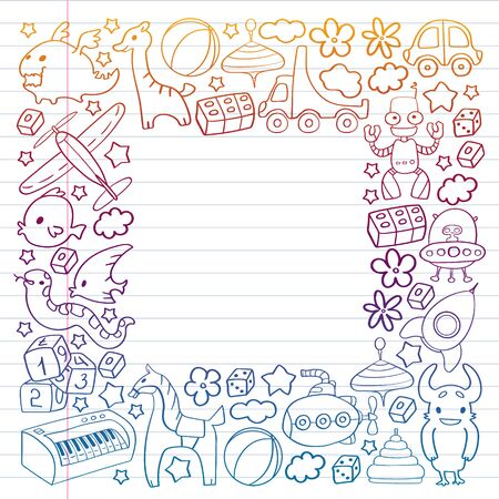 Vector pattern with children toys. Kindergarten elements in doodle style for little kids. Education, play, grow.