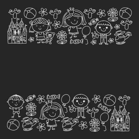 Cute little children play. Kindergarten, education, sport. Icons of kids and toys for patterns, banners, posters  イラスト・ベクター素材