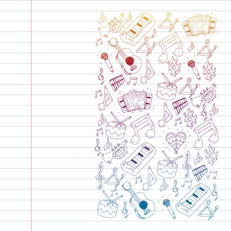 Music background for patterns. Vector illustration with musical instruments
