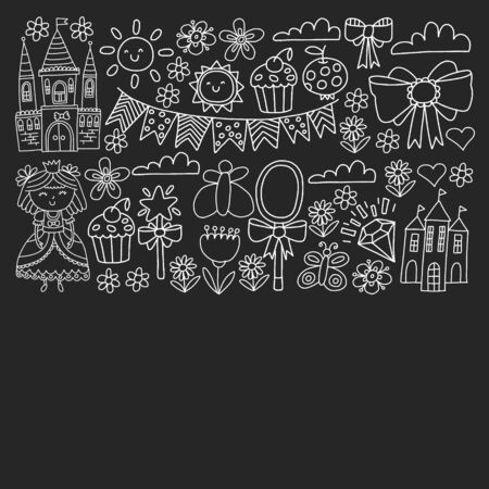 Vector pattern for little girls. Princess illustration for happy birthday party.