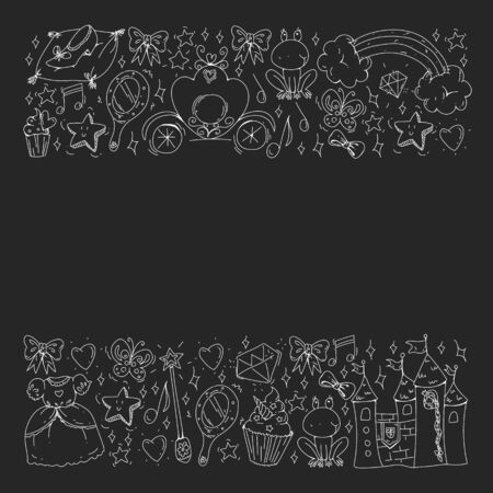 Vector pattern for little girls. Princess illustration for happy birthday party. Blackboard chalk illustration Ilustração
