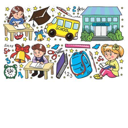 Retour à l'école. Modèle vectoriel avec des icônes et des enfants Vecteurs