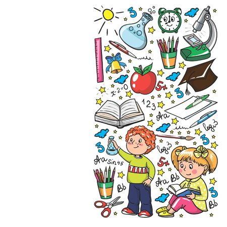 Back to School. Vector pattern with icons and children