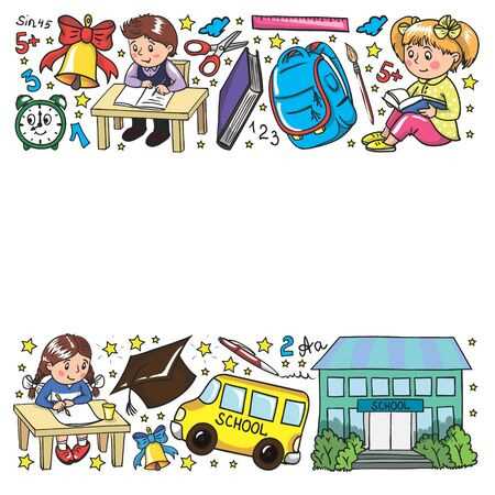 Back to School. Vector pattern with icons and children Imagens - 128808699