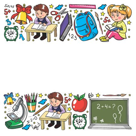 Back to School. Vector pattern with icons and children Imagens - 128808731