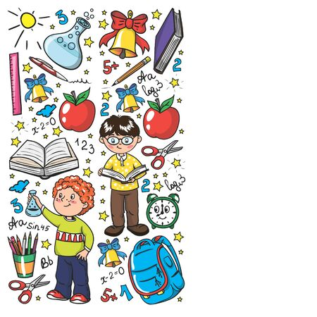 Back to School. Vector pattern with icons and children Imagens - 128808729
