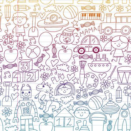 Kindergarten, preschool, school children. Kids drawing style vector pattern. Play grow learn together.