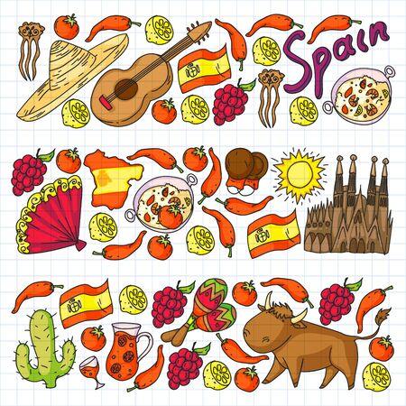 Spanje pictogrammen instellen. Spaanse traditionele symbolen en objecten.