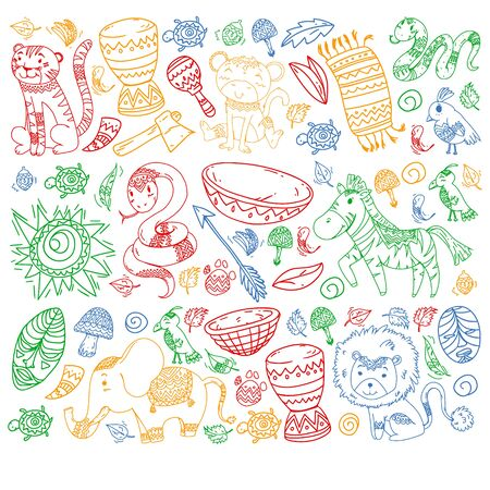 Vector african elements and animals for children clothing, fashion, t-shirts. Kids wallpaper with zebra, monkey, leopard, jaguar, bird, elephant.