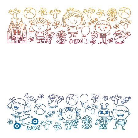Cute little children play. Kindergarten, education, sport. Icons of kids and toys for patterns, banners, posters Ilustração