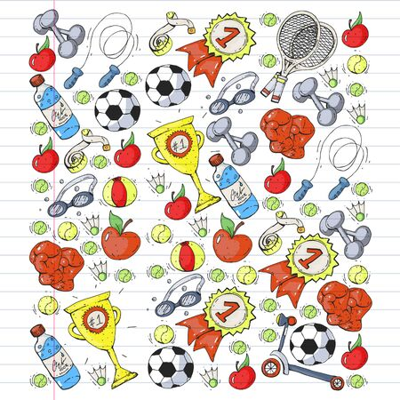 Vector pattern with sport elements. Fitness, games, exercises. Doodle icons in kids drawing style