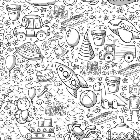 Juego de juguetes para bebés. Ilustración de dibujos animados de estilo plano de vector. Juguetes de madera y plástico, diversión y actividad. Jardín de infancia, guardería.