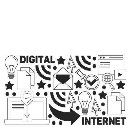 Hand drawn vector illustration background of digital marketing with doodles elements Ilustração