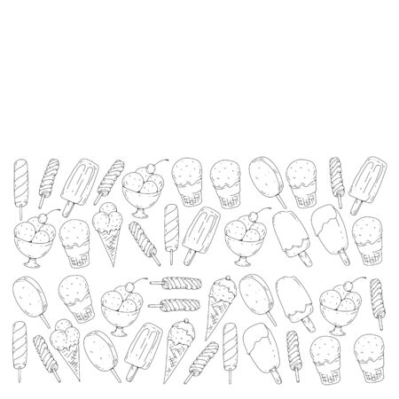 Collection of vector ice creams. Pattern for banners, posters