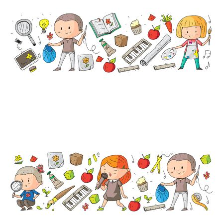 Back to school vector pattern. Education icons for children