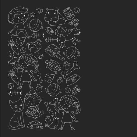 Pet shop. Vector illustration with animals, dog, cat, fish, Colorful background with kitten, bird, puppy Veterinarian clinic Vektoros illusztráció