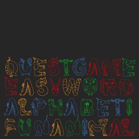Animal alphabet. Zoo alphabet. Letters from A to Z. Cartoon cute animals. Elephant, dog, flamingo, giraffe horse alligator bear cat Stockfoto - 128762971